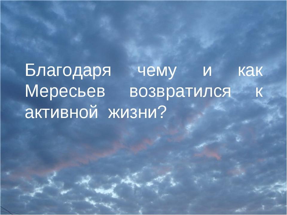 Благодаря чему и как Мересьев возвратился к активной жизни?