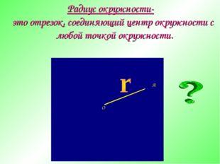 Радиус окружности- это отрезок, соединяющий центр окружности с любой точкой о