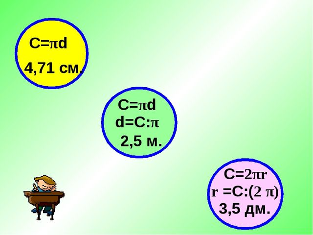 4,71 см. 2,5 м. 3,5 дм. С=πd С=πd d=С:π r =C:(2 π) C=2πr