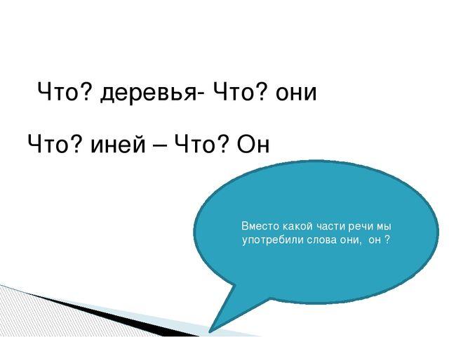 Что? деревья- Что? они Что? иней – Что? Он Вместо какой части речи мы употре...
