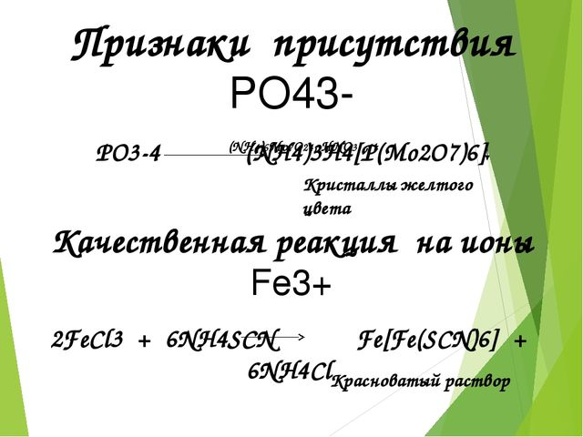 PO3-4  (NH4)3H4[P(Mo2O7)6] Кристаллы желтого цвета Красноватый раствор Призн...