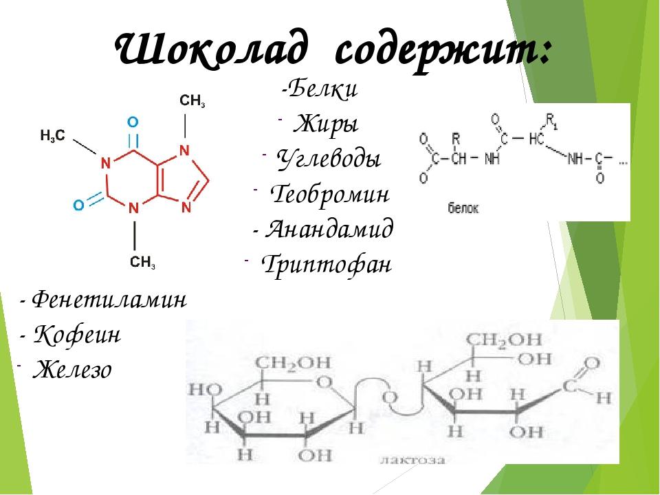-Белки Жиры Углеводы Теобромин - Анандамид Триптофан - Фенетиламин - Кофеин...