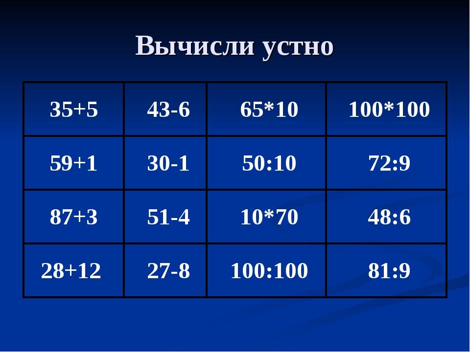 Вычисли устно 35+543-665*10100*100 59+130-150:1072:9 87+351-4...