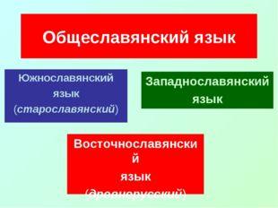 Южнославянский язык (старославянский) Общеславянский язык Восточнославянский