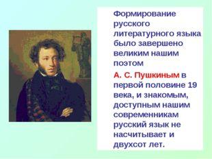 Формирование русского литературного языка было завершено великим нашим поэто