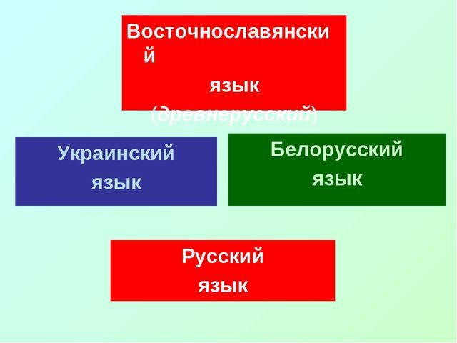 Восточнославянский язык (древнерусский) Украинский язык Белорусский язык Русс...