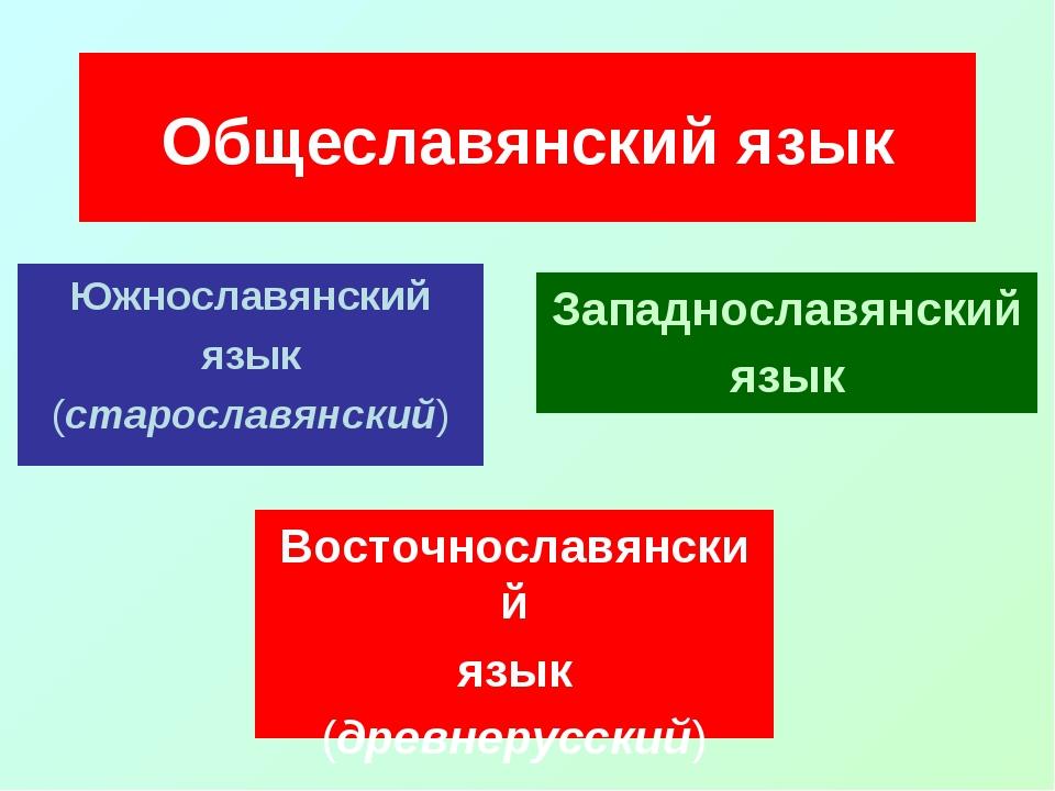 Южнославянский язык (старославянский) Общеславянский язык Восточнославянский...