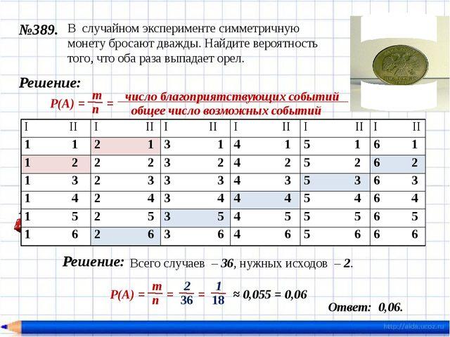 №389. Ответ: 0,25. Решение: = 0,25 В случайном эксперименте симметричную моне...