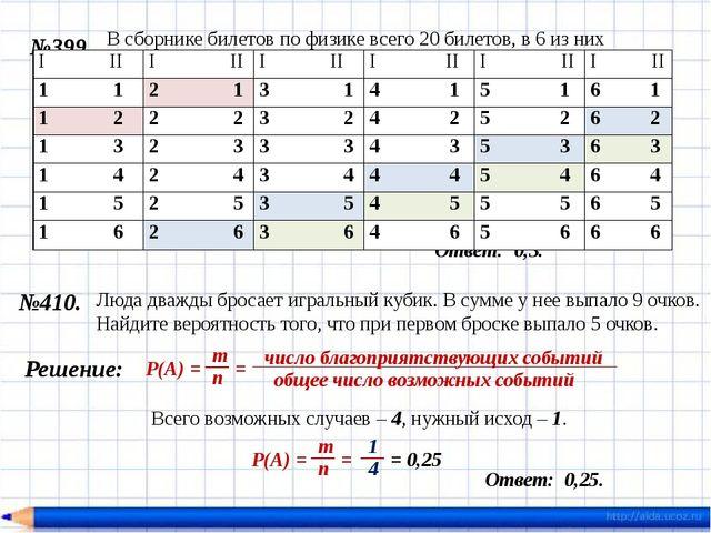 №399. Ответ: 0,3. Решение: = 0,3 В сборнике билетов по физике всего 20 билето...