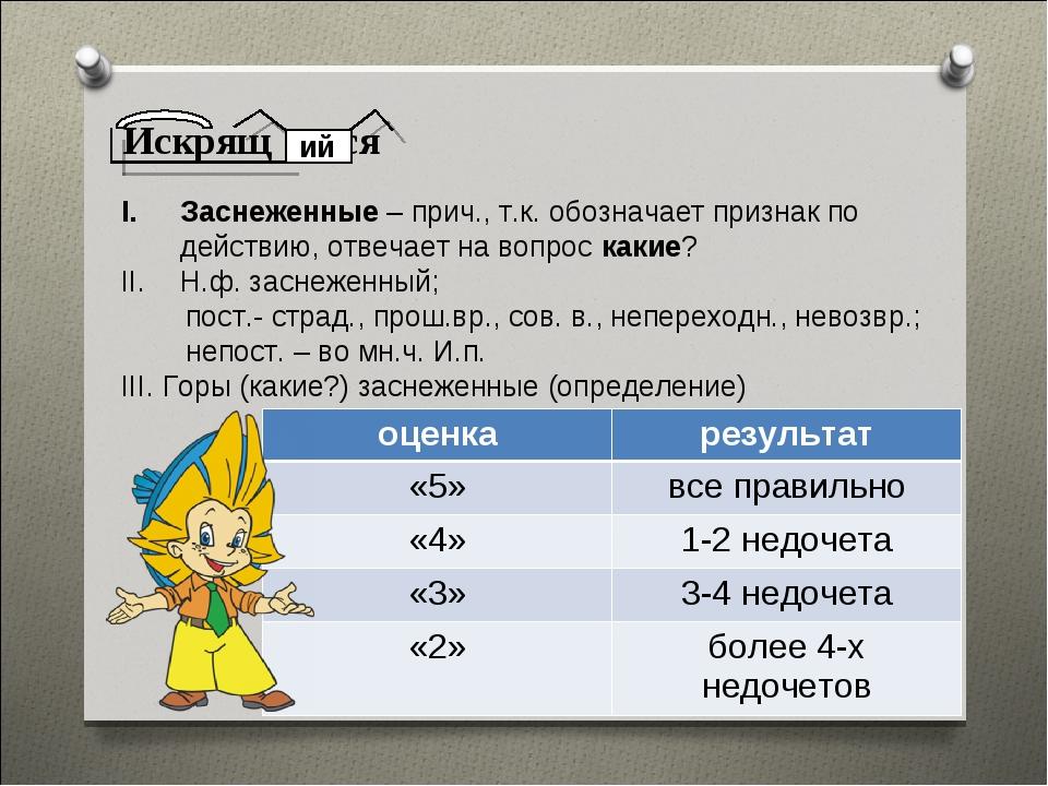 Искрящ ся ий Заснеженные – прич., т.к. обозначает признак по действию, отвеча...