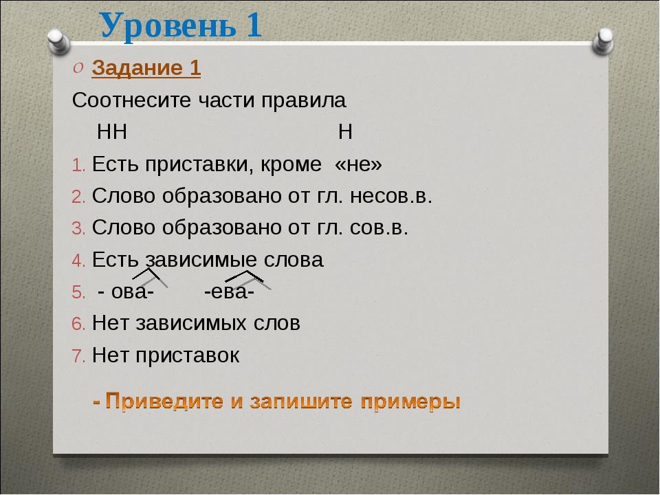 Уровень 1 Задание 1 Соотнесите части правила НН Н Есть приставки, кроме «не»...