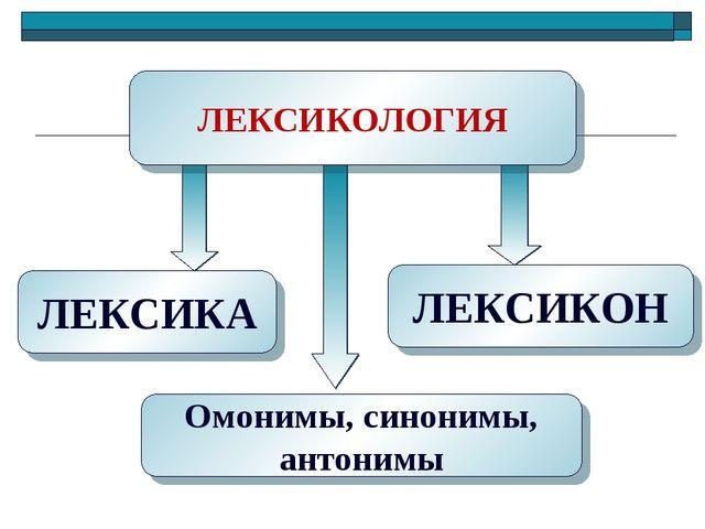 ЛЕКСИКА Омонимы, синонимы, антонимы ЛЕКСИКОН ЛЕКСИКОЛОГИЯ