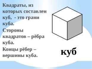 Квадраты, из которых составлен куб, - это грани куба. Стороны квадратов – рёб