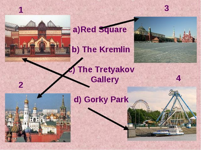 Red Square b) The Kremlin c) The Tretyakov Gallery d) Gorky Park 1 2 3 4