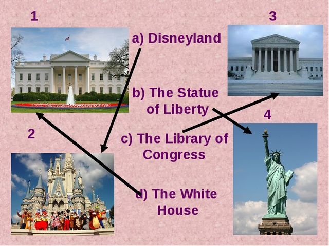 1 2 3 4 c) The Library of Congress a) Disneyland d) The White House b) The St...
