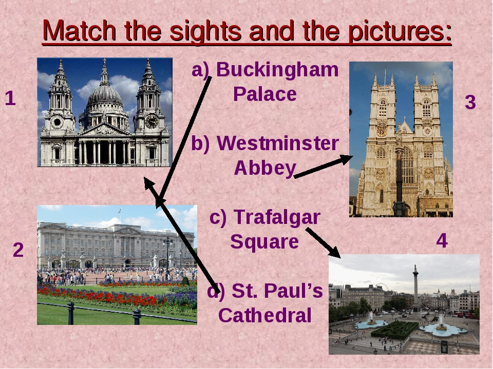 Match the sights and the pictures: a) Buckingham Palace b) Westminster Abbey...