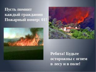 Пусть помнит каждый гражданин Пожарный номер: 01! Ребята! Будьте осторожны с