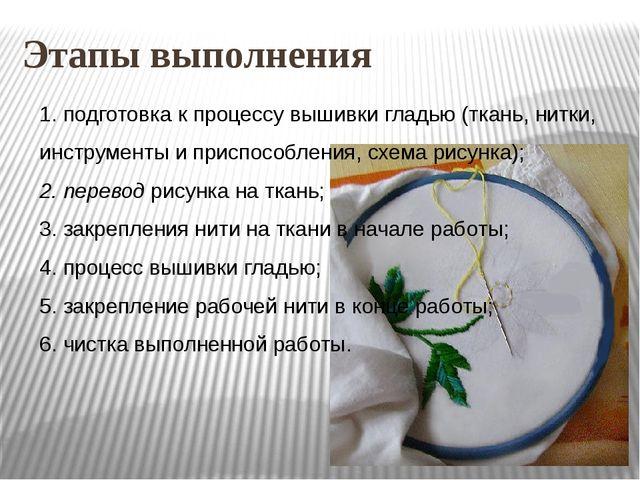 Этапы выполнения 1. подготовка к процессу вышивки гладью (ткань, нитки, инстр...