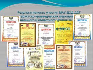 Результативность участия МАУ ДОД ДДТ в туристско-краеведческих мероприятиях