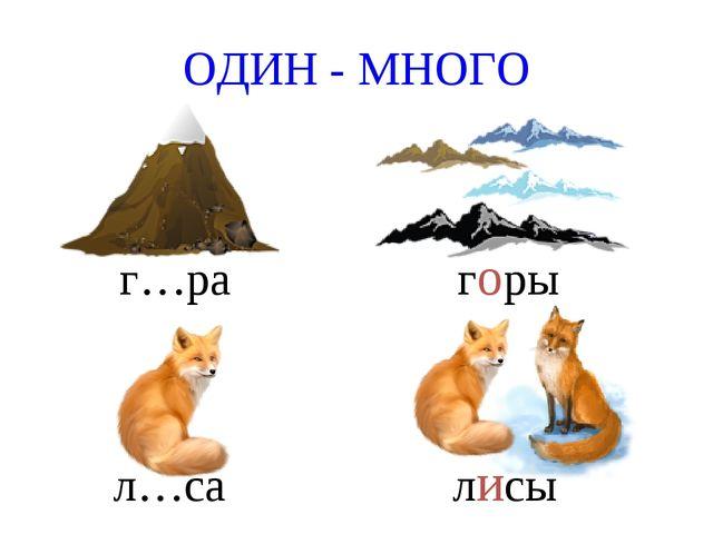 ОДИН - МНОГО г…ра горы л…са лисы