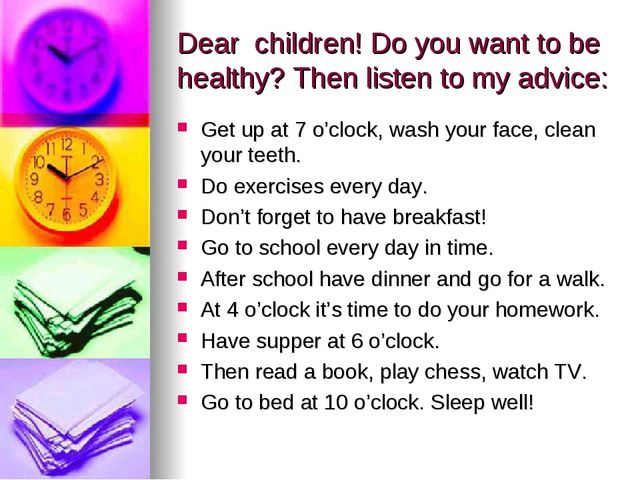 Dear children! Do you want to be healthy? Then listen to my advice: Get up at...