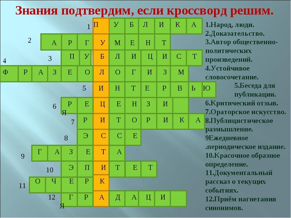 Знания подтвердим, если кроссворд решим. 1 2 3 4 5 6 7 8 9 10 11 12 1.Народ,...