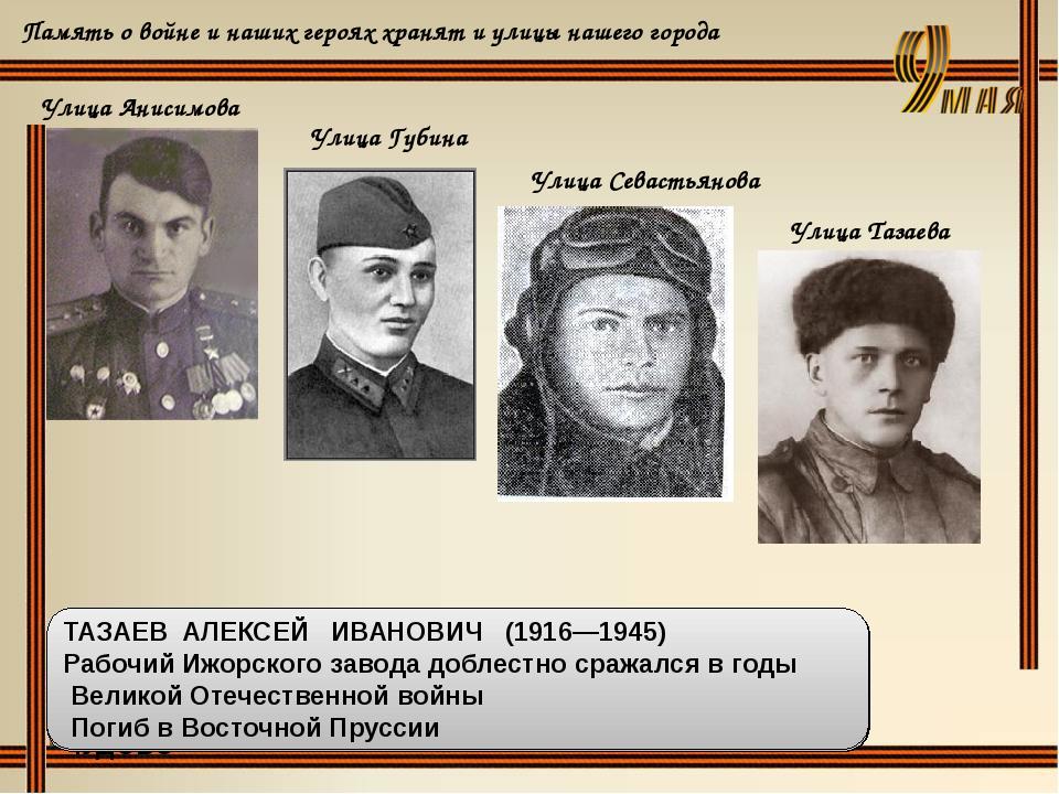 Память о войне и наших героях хранят и улицы нашего города Улица Анисимова Ул...