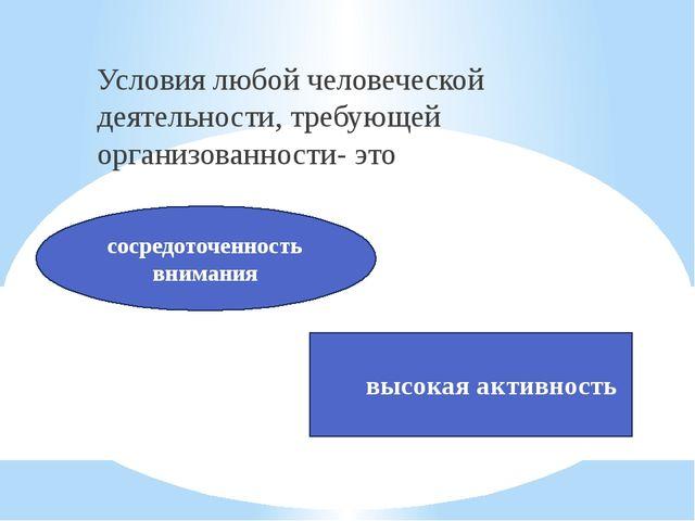 Условия любой человеческой деятельности, требующей организованности- это соср...