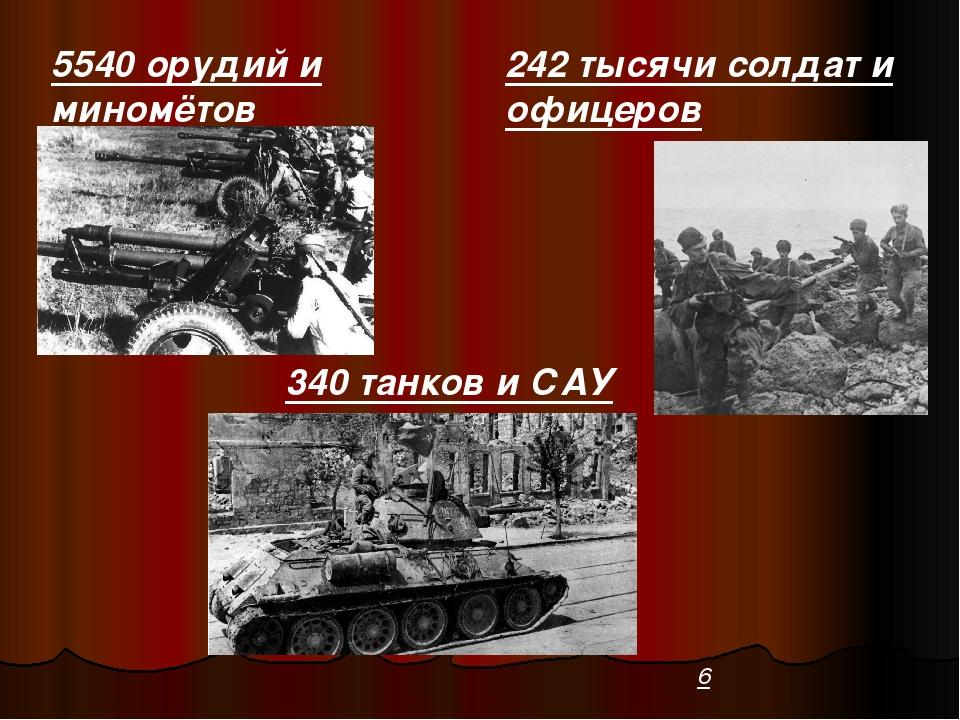 242 тысячи солдат и офицеров 340 танков и САУ 5540 орудий и миномётов