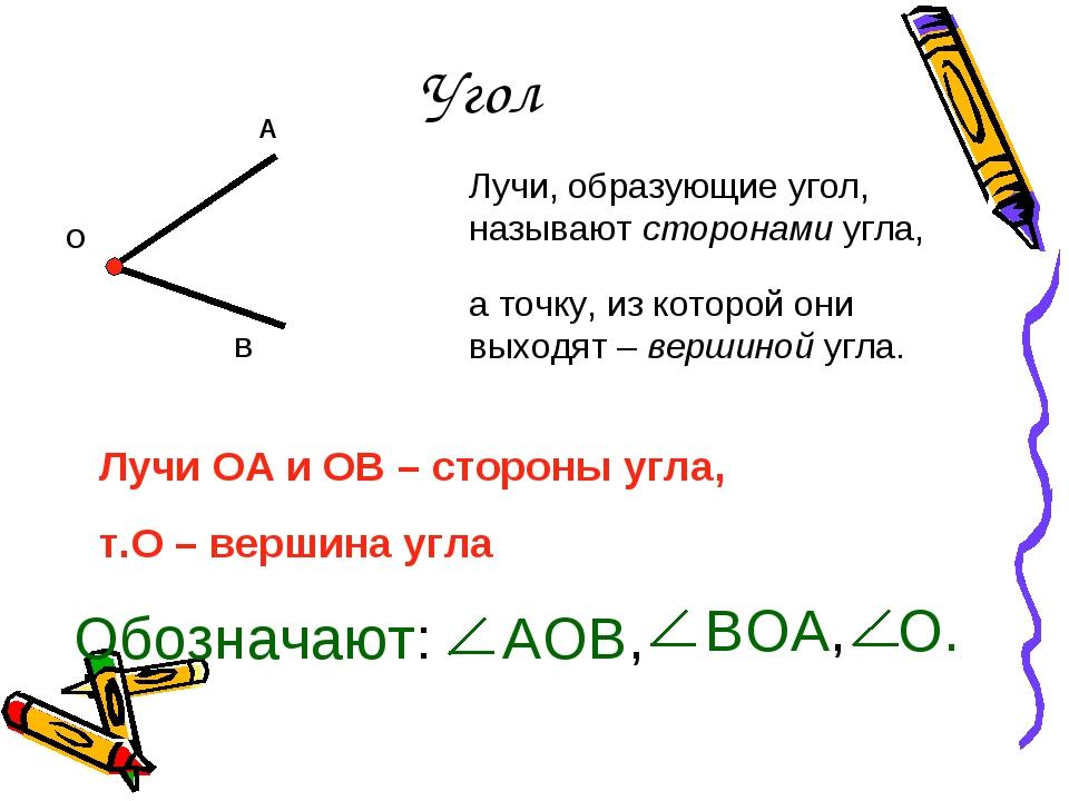 Угол Лучи, образующие угол, называют сторонами угла, а точку, из которой они...