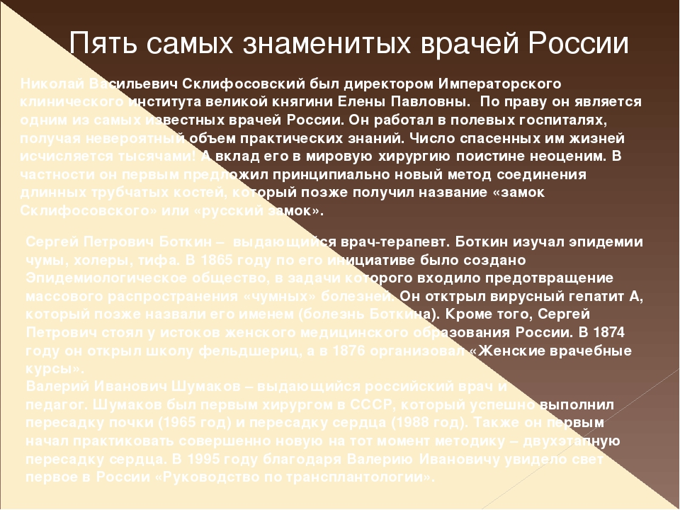 Пять самых знаменитых врачей России Николай Васильевич Склифосовский был дире...
