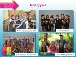 Мои друзья МБОУ «Средняя школа №12» ГКУ «СРЦН г. Дзержинска» ДОЛ «Спутник» Ро