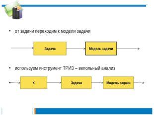 от задачи переходим к модели задачи используем инструмент ТРИЗ – вепольный а