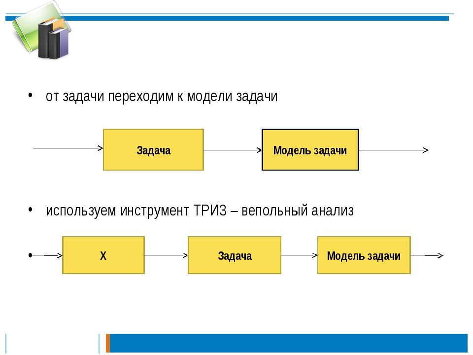 от задачи переходим к модели задачи используем инструмент ТРИЗ – вепольный а...