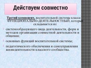 Действуем совместно Третий компонент, воспитательной системы класса: ФУНКЦИОН