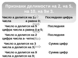 Число а делится на 10 Последняя цифра числа а равна 0; Число а делится на 5 П