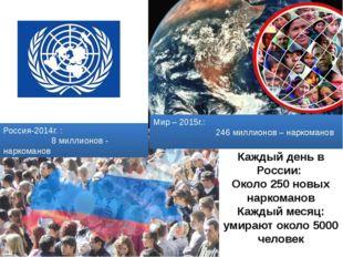 Мир – 2015г.: 246 миллионов – наркоманов Россия-2014г. : 8 миллионов - нарком