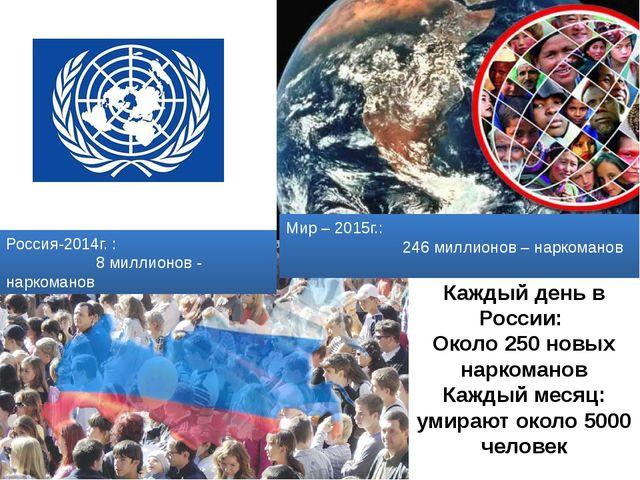 Мир – 2015г.: 246 миллионов – наркоманов Россия-2014г. : 8 миллионов - нарком...