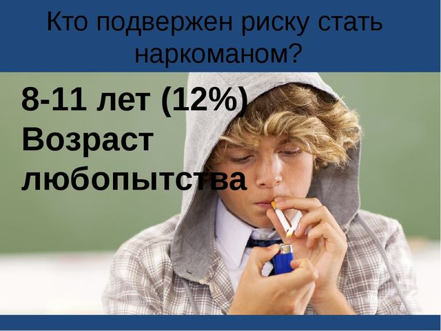 Кто подвержен риску стать наркоманом? 8-11 лет (12%) Возраст любопытства