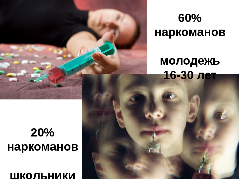 20% наркоманов школьники 60% наркоманов молодежь 16-30 лет