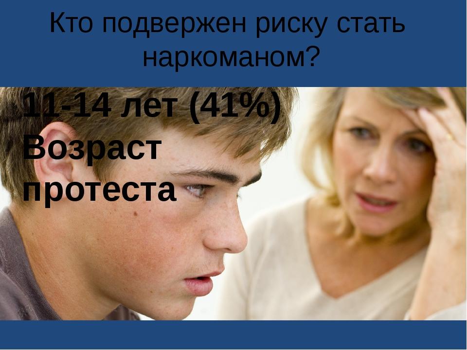 Кто подвержен риску стать наркоманом? 11-14 лет (41%) Возраст протеста