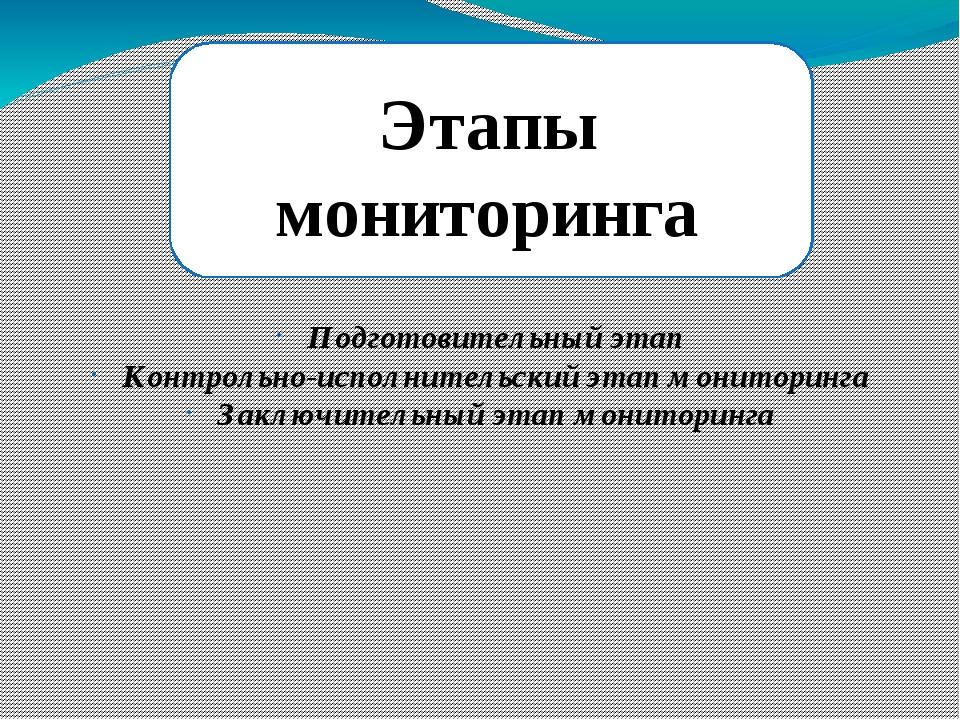 Этапы мониторинга Подготовительный этап Контрольно-исполнительский этап мони...