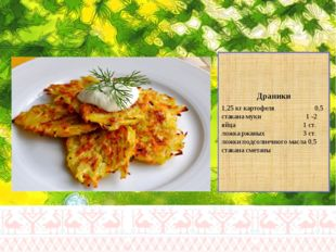 Драники 1,25 кг картофеля 0,5 стакана муки 1 -2 яйца 1 ст. ложка ржаных 3 ст.