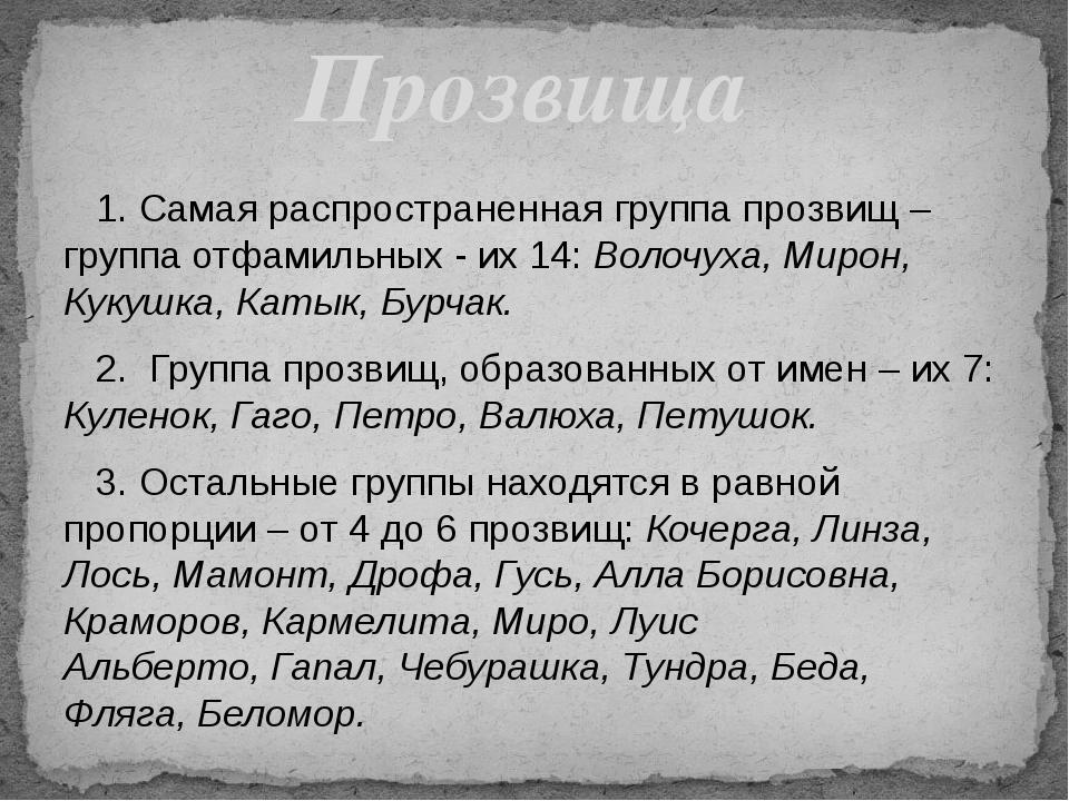 1. Самая распространенная группа прозвищ –группа отфамильных - их 14: Волочу...