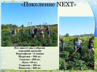 Все вместе мы собрали хороший урожай: Картофеля – 2 тонны Моркови – 300 кг. С