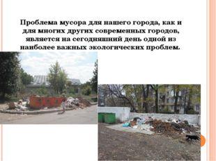 Проблема мусора для нашего города, как и для многих других современных городо