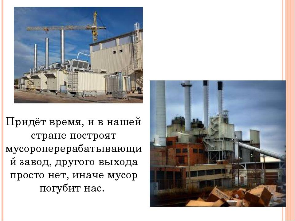Придёт время, и в нашей стране построят мусороперерабатывающий завод, другого...
