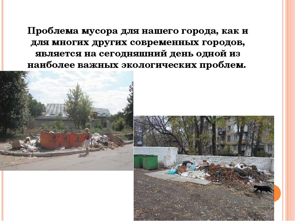 Проблема мусора для нашего города, как и для многих других современных городо...