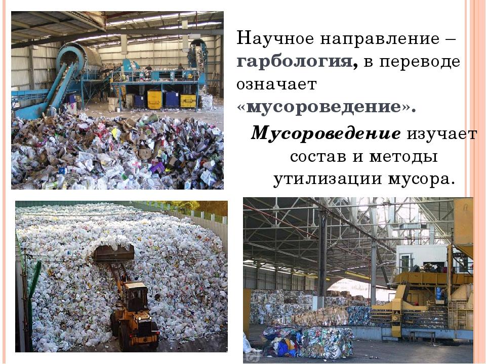 Научное направление – гарбология, в переводе означает «мусороведение». Мусоро...