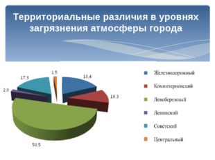 Территориальные различия в уровнях загрязнения атмосферы города